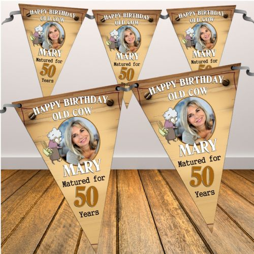 Personalised Old Cow Happy Birthday Flag PHOTO Banner - N28